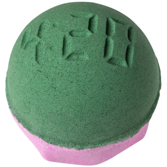 pink and green bath bomb with 420 embedded into it