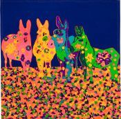 multicoloured donkeys on a dark blue background with flower pattern on them