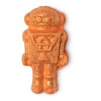 orange glitzernde badebombe in form eines spielzeugroboters