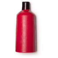 Um gel de duche sólido em forma de garrafa vernelha