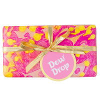 pink and yellow themed gift with gold ribbon