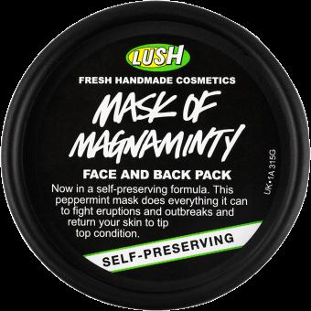 A máscara de rosto e corpo Mask Of Magnaminty apresenta-se num pote preto de plástico reciclado