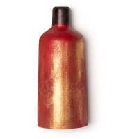 red bottle shaped naked shower gel with golden glitter