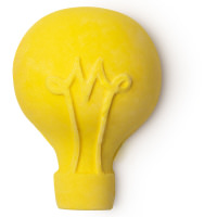 A yellow lightbulb shaped bubble bar