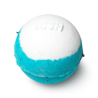 A blue bath bomb with a white design in the centre with the word LUSH embossed on top