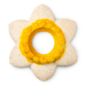 white and yellow daffodil design reusable bubble bar blower