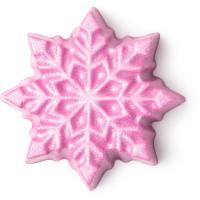 Let it glow é uma barra de massagem sem embalagem com a forma de floco de neve rosa
