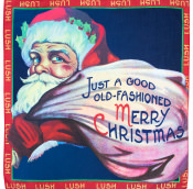 a traditional santa with a bag full of presents on a knot wrap