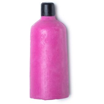 Gel doccia nudo a forma di bottiglia di colore rosa con tappo di nero di cera.