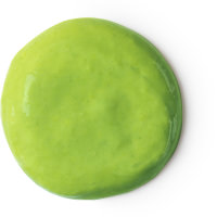 A round green spot of hair conditioner