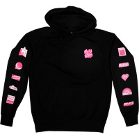 a black snow fairy hoodie with pink badges