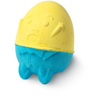 blue and yellow egg shaped humpty dumpty bath bomb