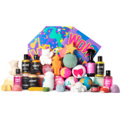 multicoloured gift with products surrounding it