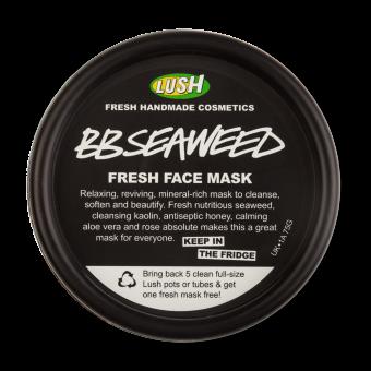 Pote preto da máscara facial BB Seaweed para guardar no frigorifico