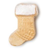 Warm sock é um dos óleos de banho exclusivos de natal com o formato de uma meia dourada