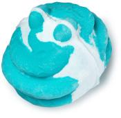 A blue and white bath bomb