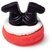 santa themed bubble bar with boots sticking up in the air