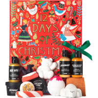 red gift box with products around it
