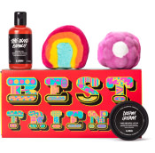 red gift box with best friend text on it and products around it