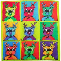 Un knot wrap para envolver tus regalos de navidad estilo Warhol con un reno festivo