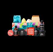 Regalo Stop Shower Time en una caja rectangular con productos para disfrutar de la ducha alrededor