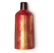 red bottle shaped naked shower gel with golden glitter