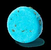 champú sólido zero waste de color azul de forma redonda Seanik con algas, sal y limón