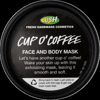 Vista dall'alto della confezione della maschera esfoliante e purificante al caffè Wake Up (Cup O' Coffee)