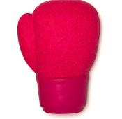 burbuja de baño reutilizable en forma de guante de box de color rosa