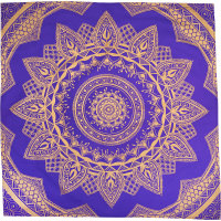 a blue and gold pattern knot wrap