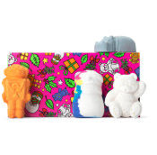 pink festive themed gift with products around it