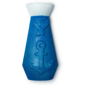 A blue bottle shaped with white top bubble bar