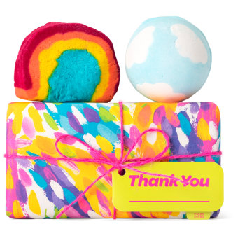 colourful gift box with products around it