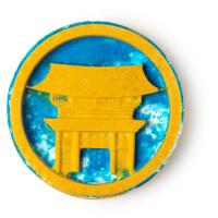 temple in the sky bomba de banho azul e amarelo