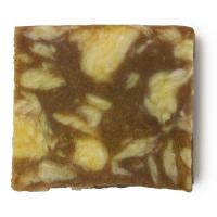 Cubo di sapone fatto a mano di colore giallo e marrone