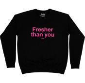 a black sweatshirt with pink writing