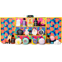 The Lush Advent Calendar with the doors opened and the products on display