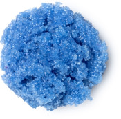 A blue round blob of lipscrub