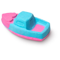 blue and pink boat shaped bath bomb