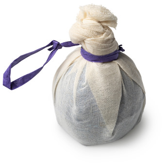 muslin covered purple bath bomb