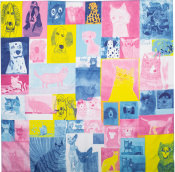 A chequered blue yellow and pink knot wrap with cats and dog images in the squares