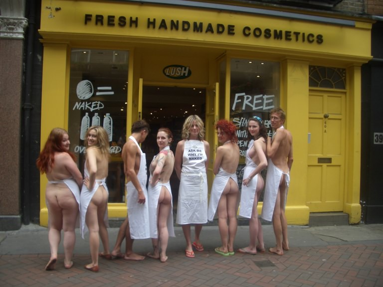 Lush shop staff Go Naked Campaign