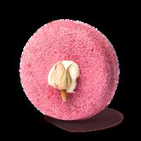champú sólido zero waste de color rosa y redondo con una flor Angel Hair
