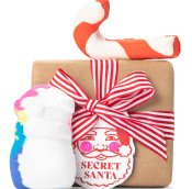 classic brown wrapped gift with red and white ribbon and products around it