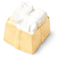 present shaped yellow and white bath bomb