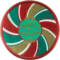 a red and gold bath bomb round tin