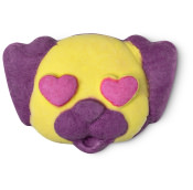 yellow and purple puppy face shaped bubble bar