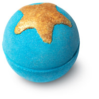 small blue bath bomb with golden glittery star in the top