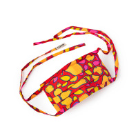 a festive face mask with orange and yellow patterns