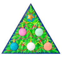 triangle shaped gift box with christmas tree pattern and bath bombs inside